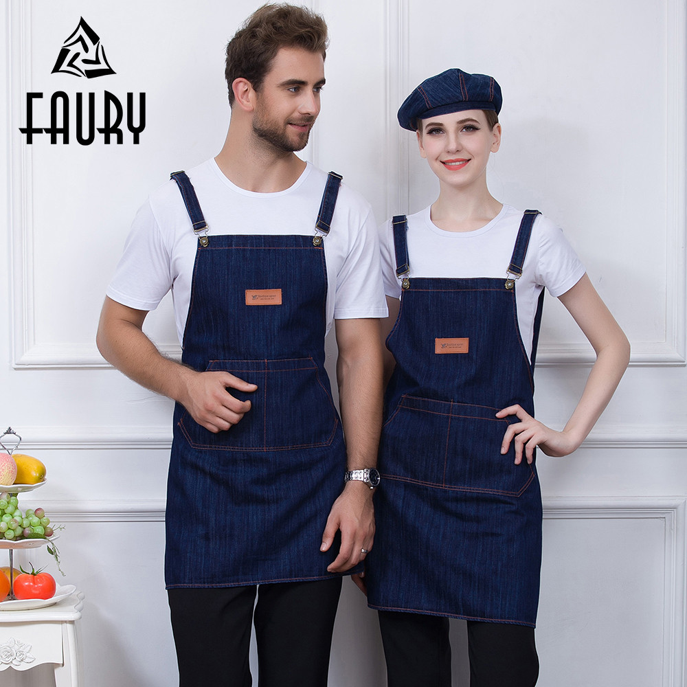 Black Blue Unisex Adjustable Strap Denim Chef Food Service Backless Restaurant BBQ Cafe Bakery Waiter Work Uniforms Cook Aprons