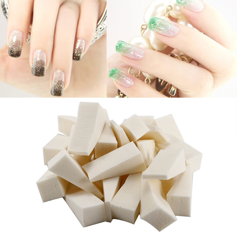 24pcs Soft Triangle Nail Art Polish Gradient Color Changing Sponge