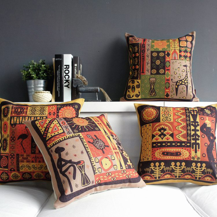 Foreign Southeast <font><b>Asian</b></font> style retro nostalgia thick cotton linen pillow office pillow cushions No Inner