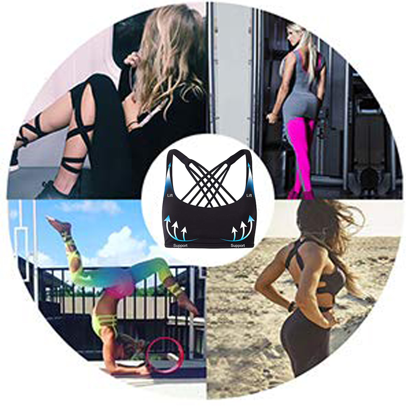SEXYWG Cross Back Open Halter Sports Bras Sexy Vest Top Fitness Women Running Sport Bh Yoga Shirt Bra Gym Compression Brassiere in Sports Bras from Sports Entertainment