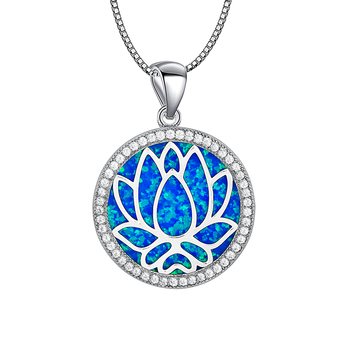 Blue Round lotus Fire Opal Stone Sliver Pendants For Women PJ180219004
