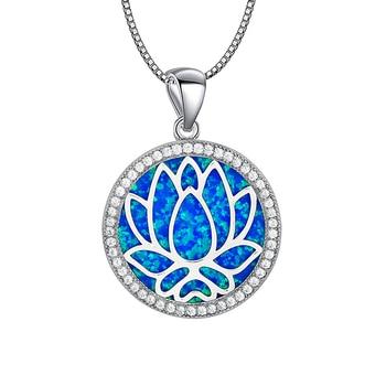 Blue Round lotus Fire Opal Stone Sliver Pendants For Women PJ180219004