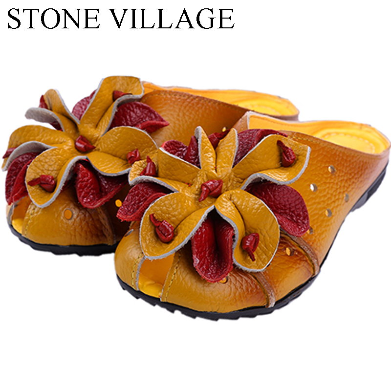 2017 Hand-Sewn Flower Vintage Genuine Leather Shoes Woman Slip On Shoes For Women Loafers Slides Summer Shoes Casual Women Flats цена 2017