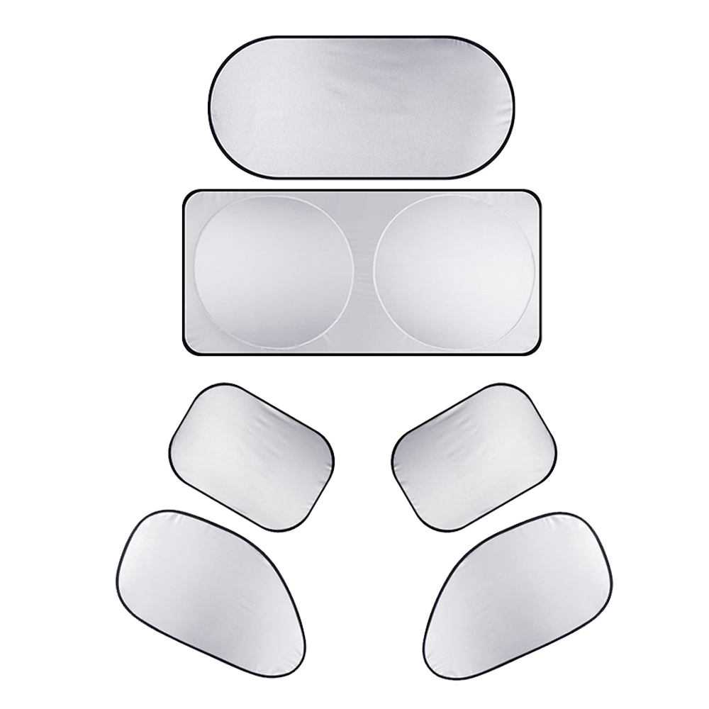 6pcs Car Cover Sunshade AUTO Protection Silver Sun Visor Front Rear Windshield Side Window Suit For All Cars