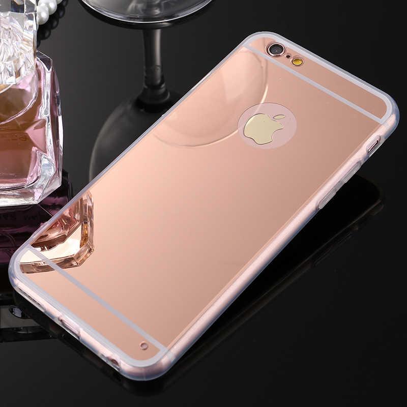 ホットミラー電気めっきソフトクリアtpuケースiphone用6 6 s 4.7インチ/6 6 sプラス5se 5 s 5 seバックカバー電話バッグケースaifon