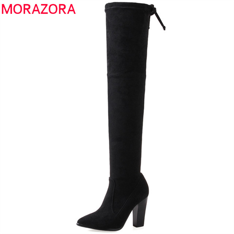 MORAZORA Over the knee boots fashion shoes high heels boots flock solid spring autumn womens boots zip large size 34-43 memunia 2017 autumn new arrive long boots for women solid zip knee high boots large size 34 43 fashion high heels boots