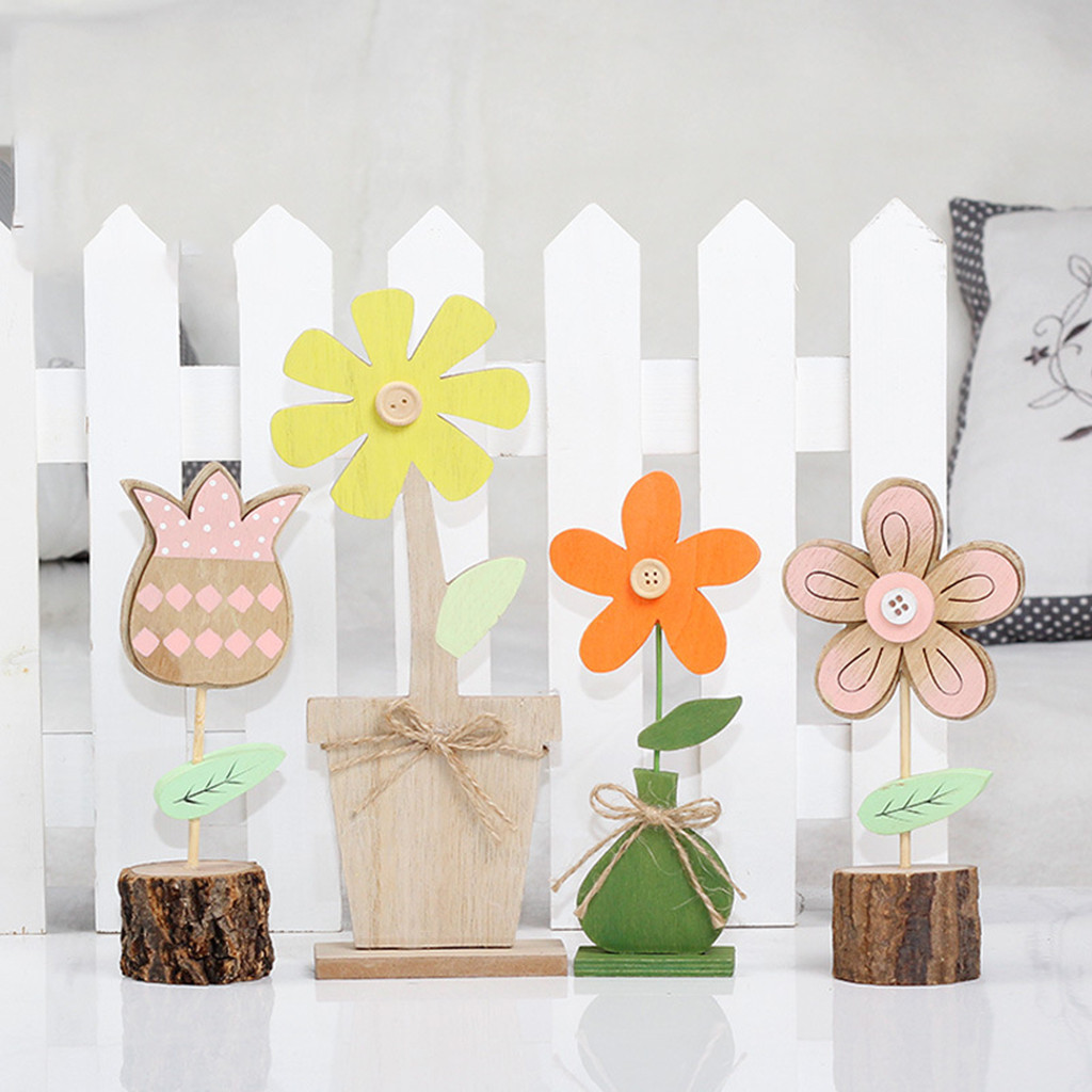 Us 3 5 23 Off Non Toxic Environmental Protection Plain Natural Decoration Cute Cartoon Wood Flower Home Easter Decorations Hollow Small K10 In