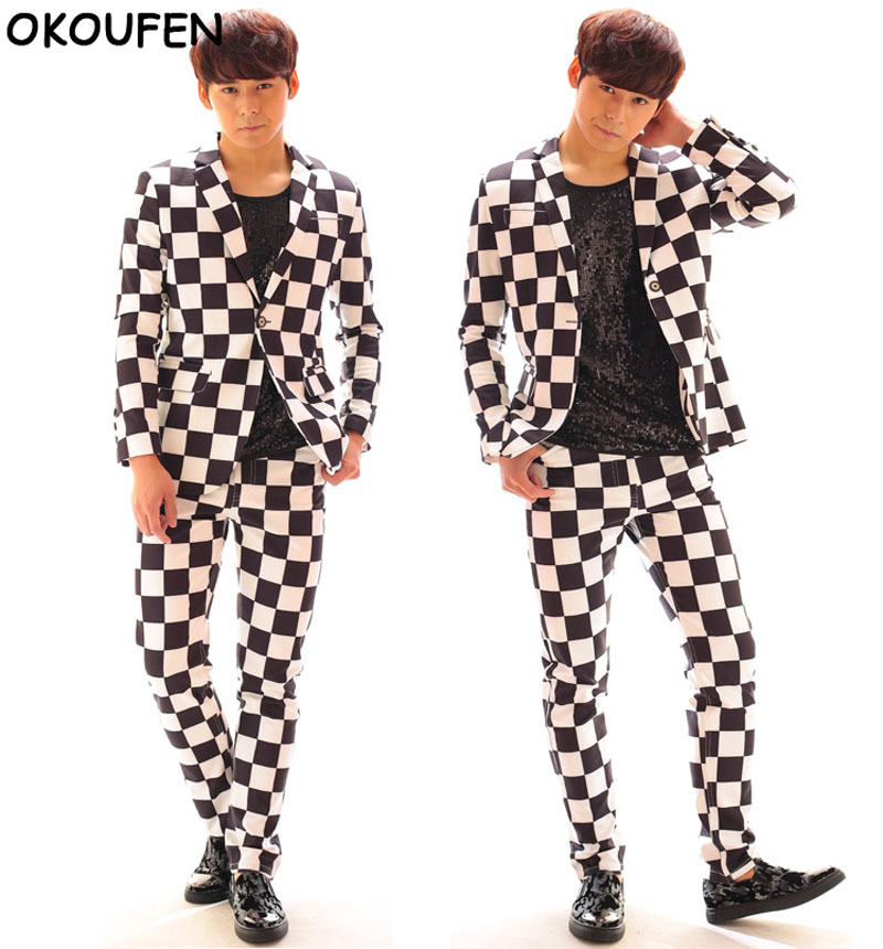 Fashion Men Black White Plaid Suit Jacket Costumes Nightclub male Singer DJ Host Concert Blazers Stage Performance Costume