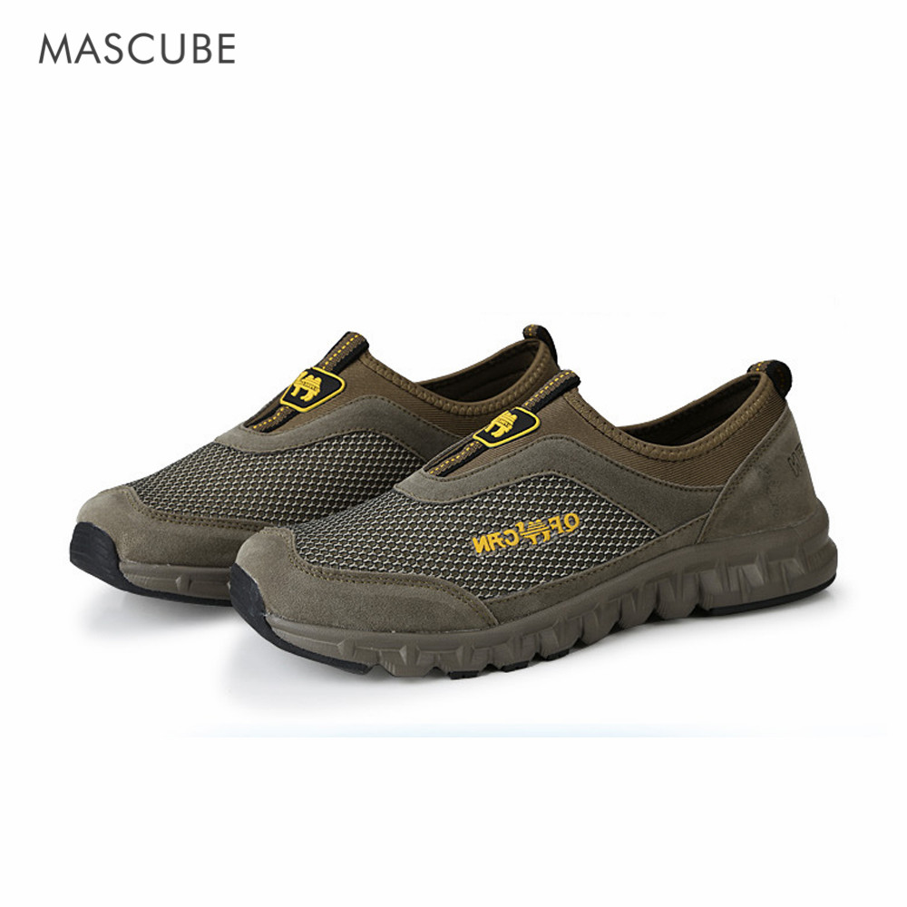 MASCUBE Casual Autumn 2017 Slip On Mountain Hiking Shoes Men Sport Sneakers Outdoor Trekking Shoes Cool Mesh Rubber Shoes Male humtto new hiking shoes men outdoor mountain climbing trekking shoes fur strong grip rubber sole male sneakers plus size