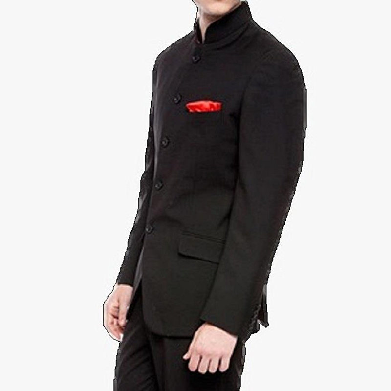 Chinese Tunic Men Suits With Stand Collar Vintage Black Groom Tuxedos For Wedding Wear Two Piece Dinner Party Male Jacket Pants