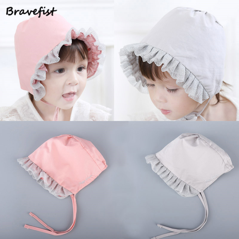 Spring 0-12M Solid Sweet Lovely Princess Children Kids Girls Baby Hat Beanie New Lace Caps New Korean Style Cotton Newborn Hats