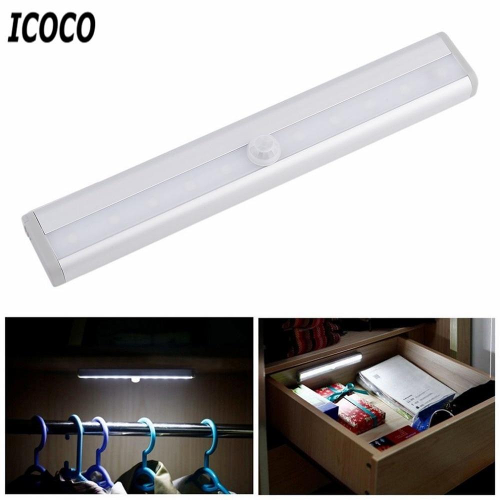 ICOCO High Bright TDL-7120 10 LED IR Infrared Motion Detector Wireless Sensor Lighting Closet Night Lamp Cabinet Wardrobe Light