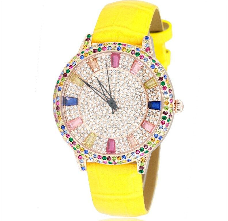 European Simple Style Rhinestone Women Dress Watches Luxury Full Crystals Real Leather Wristwatch Quartz Colorful Relojes WA107