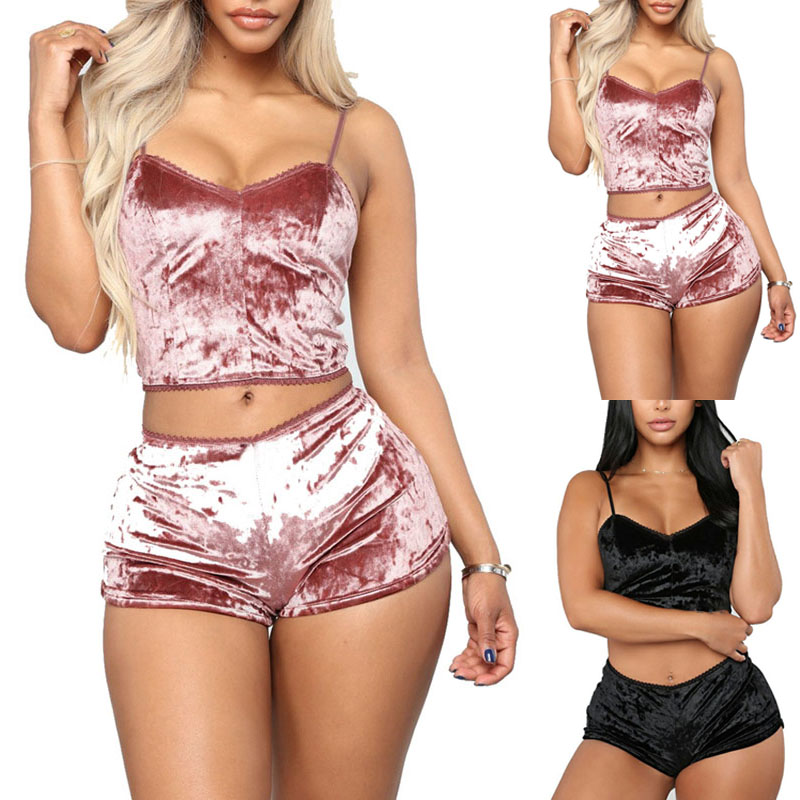Sexy Velvet   Pajamas     Set   for Women Lingerie Underwear Nightwear Bra Panty   Set   Women Homewear