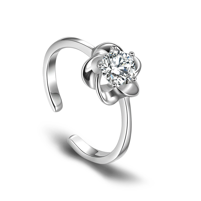 Silver Color Flower Zircon Ring Women 2018 Fashion Jewelry Delicate Ladies Adjustable Party Rings Finger Ring Anel Feminino