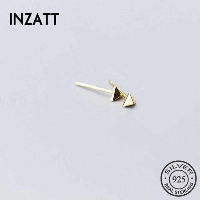 INZATT Minimalist Real 925 Sterling Silver Geometric Triangle Stud Earrings Fine