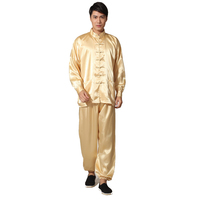 Novelty Gold Men S Satin Pajamas Set Chinese Style Button Pyjamas Suit Soft Sleepwear Shirt Trousers