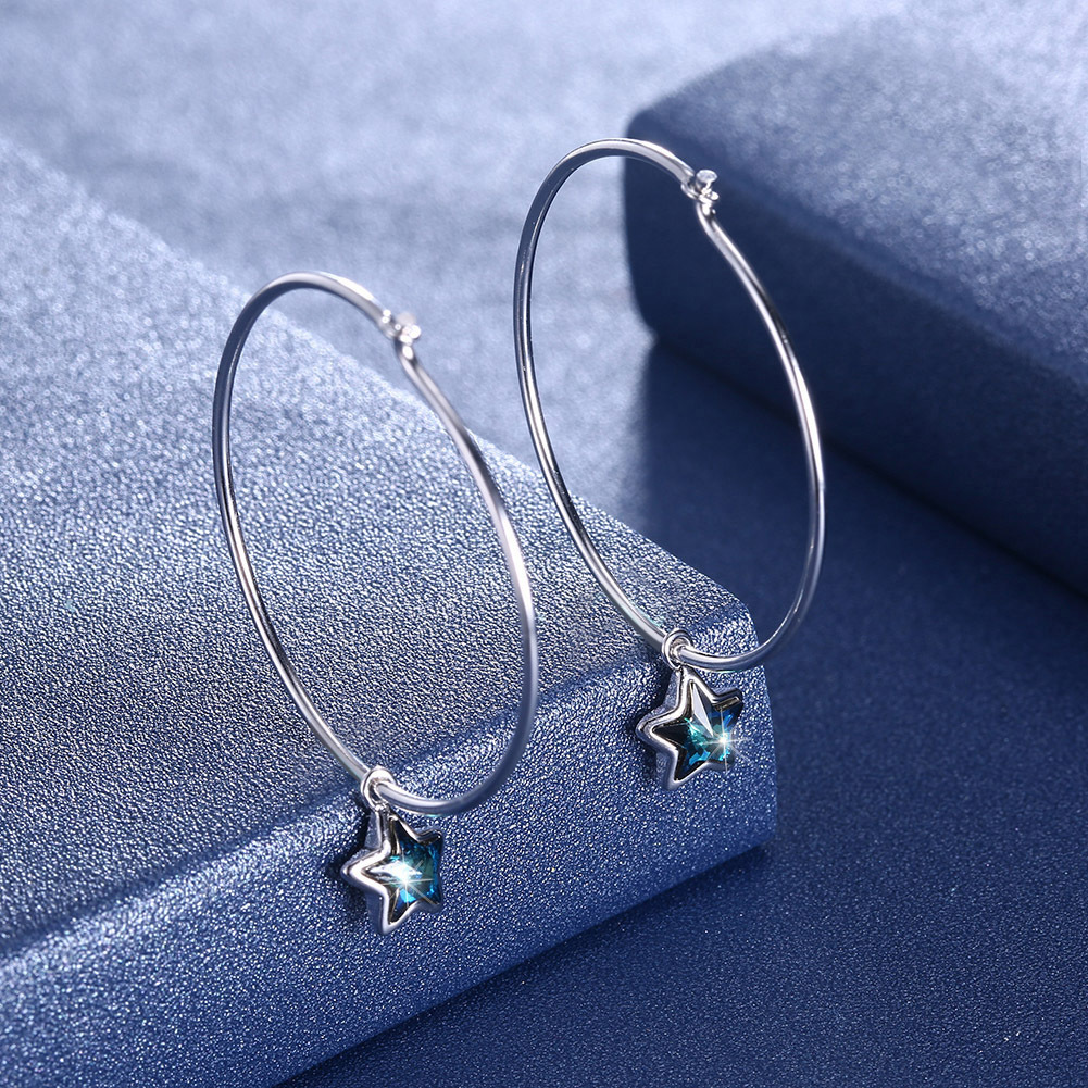 Austria Element Crystal Circle Diamond Star Earrings for Women Europe America Style Simple Geometric Jewelry Sterling 925 Silver цена