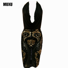 2017 NEW womens sexy dresses party night club dress backless summer vestidos mujer sequin plus size women clothing jurken elbise