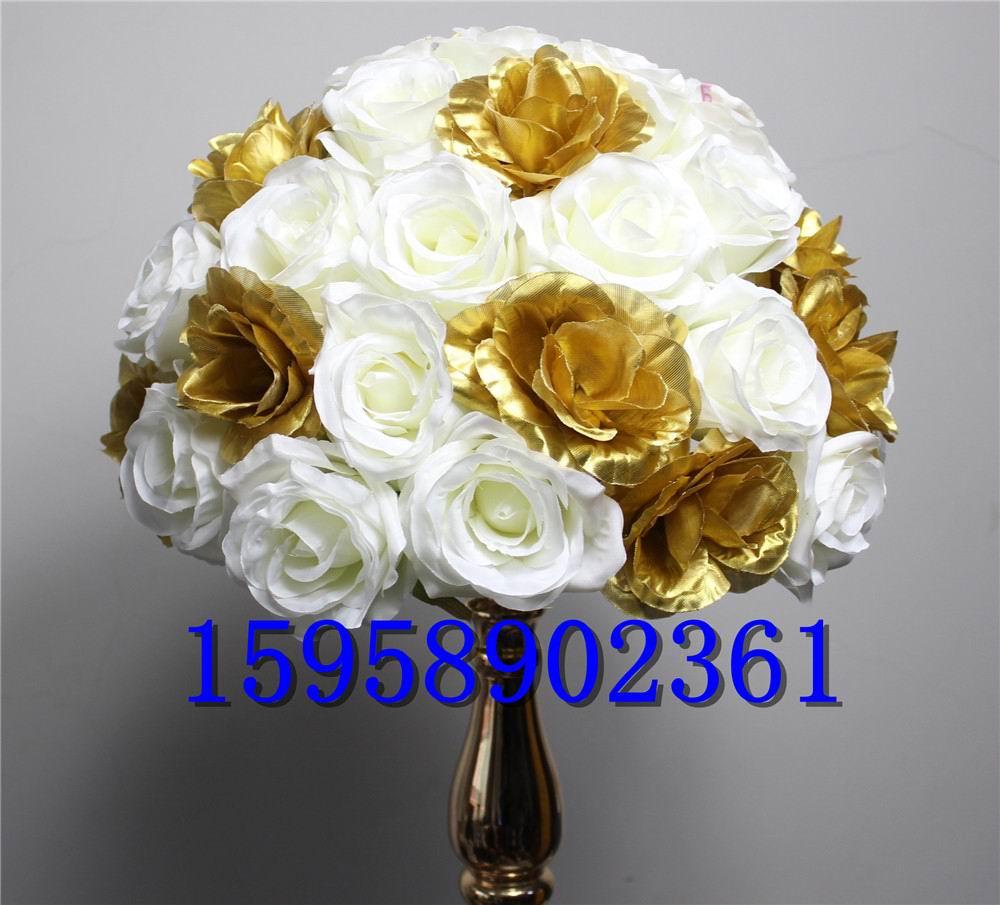SPR 무료 EMS 10pcs / lot 결혼 도로 리드 인공 꽃 공 결혼식 테이블 꽃 중심 장식 꽃 공 장식