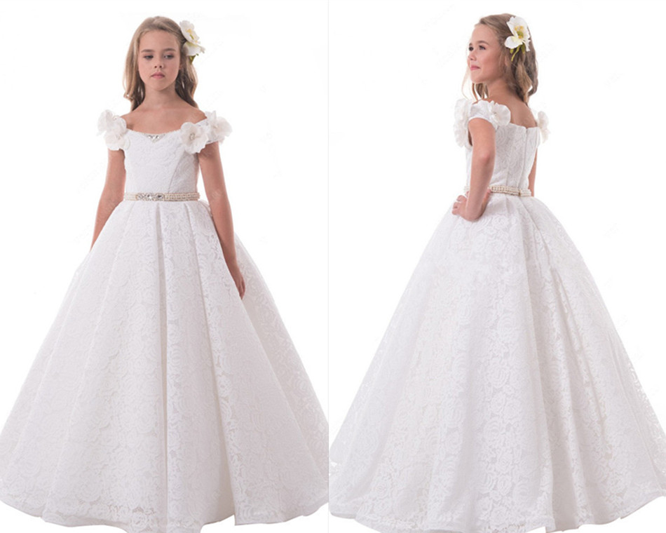 2017 White Ivory Flower Girls Dresses Ball Gown with Beaded Sash Princess First Communion Dress Any Size cute new long sleeves white ball gown flower girl dresses french lace beaded first communion dress with sequin bow and sash