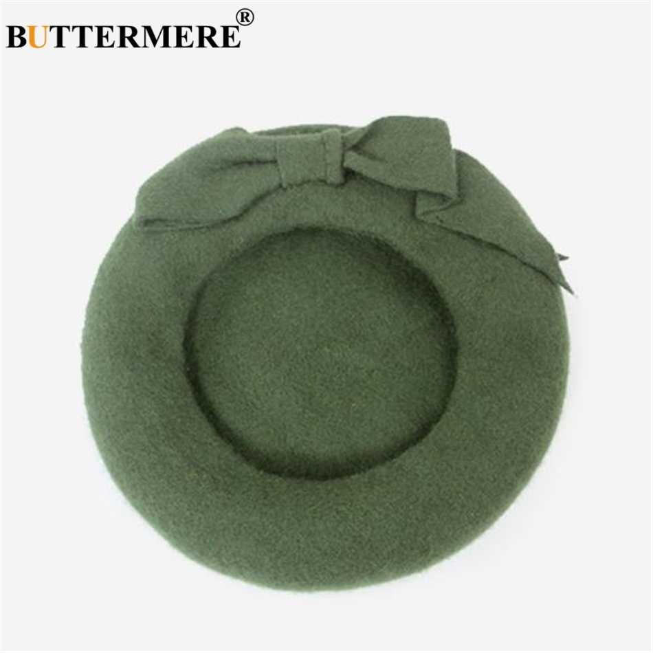 BUTTERMERE французская шляпа берет Для женщин Шерсть Берет шапочка желтый осень-зима бантом теплый шерстяной элегантный, корейский художник шляпу
