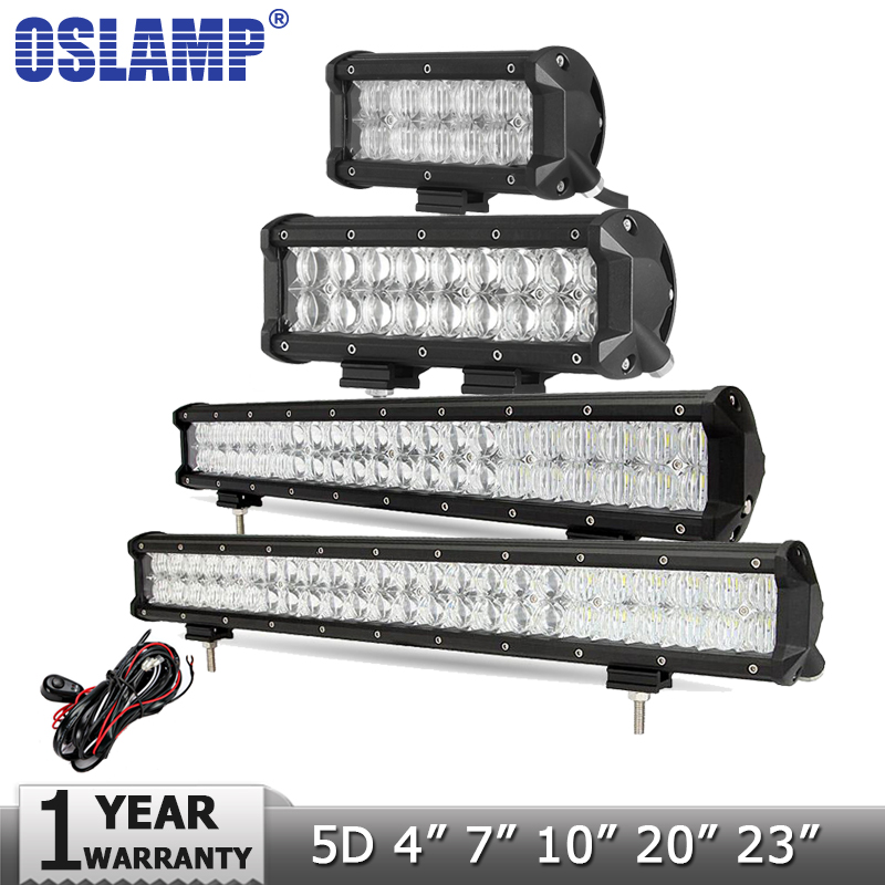 Oslamp 5D 4 7 10 20 23 LED Light Bar Offroad Led Bar Spot Flood Led Work Light Driving Lamp DC12v 24v Truck SUV 4X4 4WD ATV