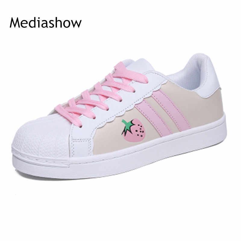 2018 ผู้หญิงแฟชั่นสบายๆน่ารักโดราเอมอน Hello Kitty แมวการ์ตูนลูกไม้นักเรียนแบนรองเท้า 35-40