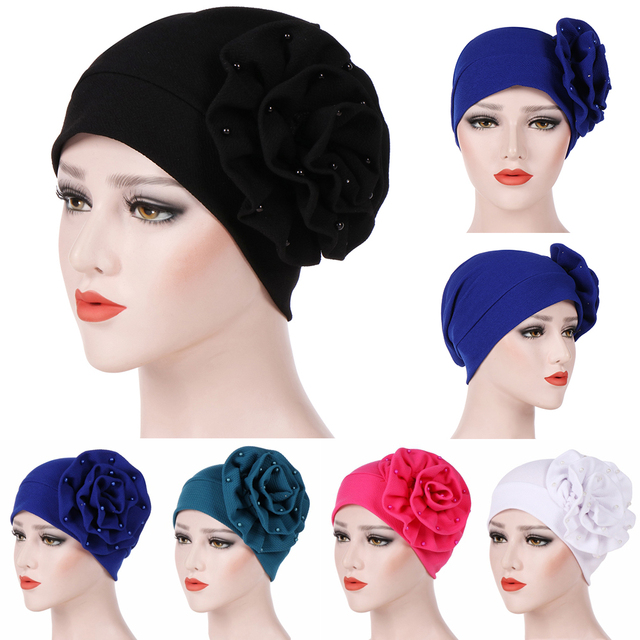 Women s India Hat Big Flowers Pearl Bead Muslim Ruffle Cancer Chemo Winter  Hats For Women Beanie 28c4a91859