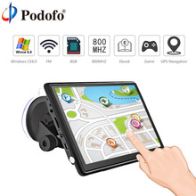 Podofo 7″ HD Car GPS Navigation FM Bluetooth AVIN Win CE 6.0 Touch Screen Sat nav Truck gps navigators automobile with Free Maps