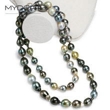 MYDEAR Fine Pearl Jewrelry Trendy Natural Multicolor Baroque Tahitian Pearl Necklace Sweater Pearl Chain High Luster