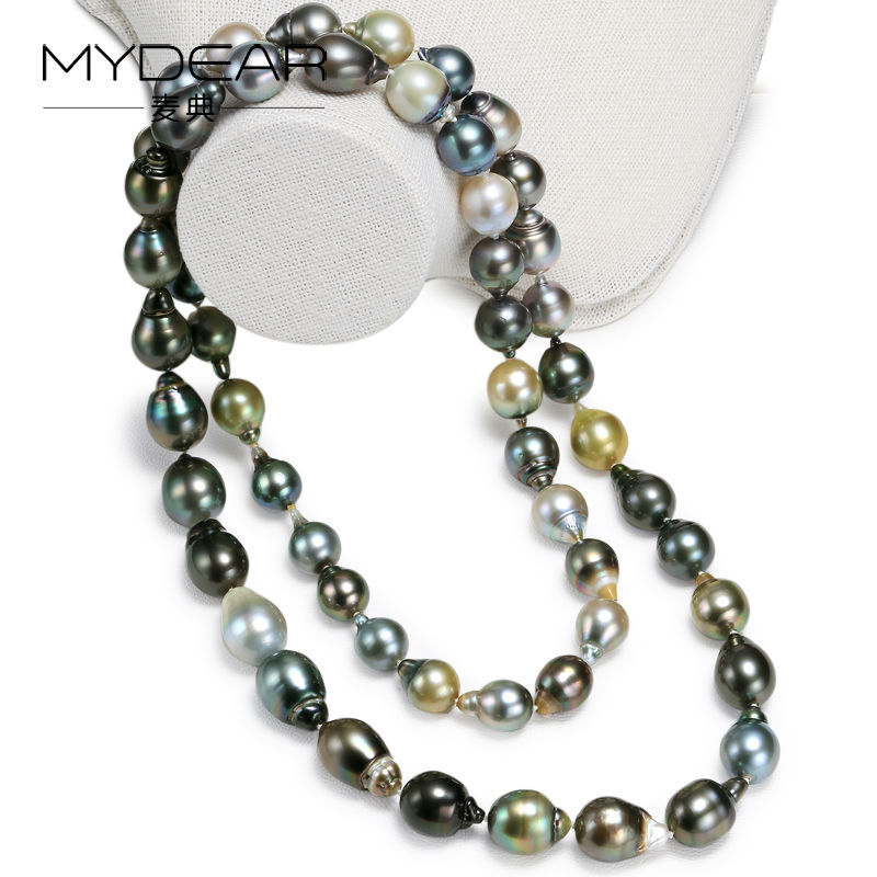 MYDEAR Fine Pearl Jewrelry Trendy Natural Multicolor Baroque Tahitian Pearl Necklace font b Sweater b font