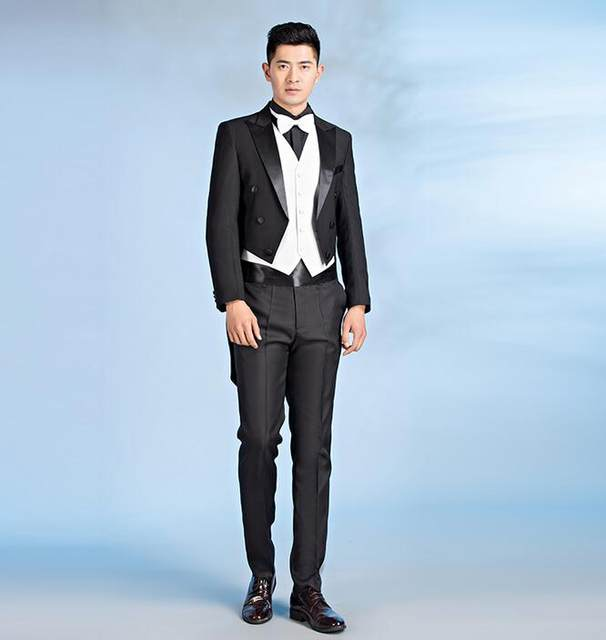 Black White Mens Tuxedo Suits Set Slim Magic Costume Banquet Long Design Formal Dress Wedding Vest Pants Tie