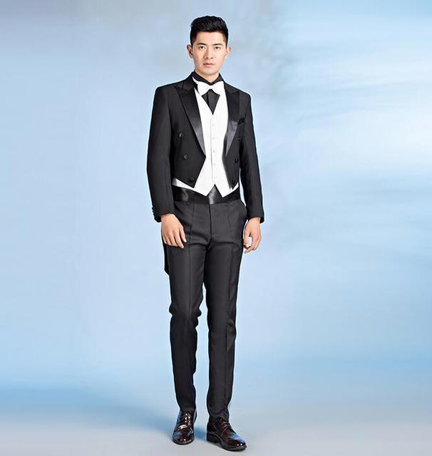 super popular f3f61 7a71c US $66.88 24% di SCONTO Nero bianco abiti da uomo smoking set sottile magia  costume banchetto lungo vestito convenzionale da disegno mens abiti da ...