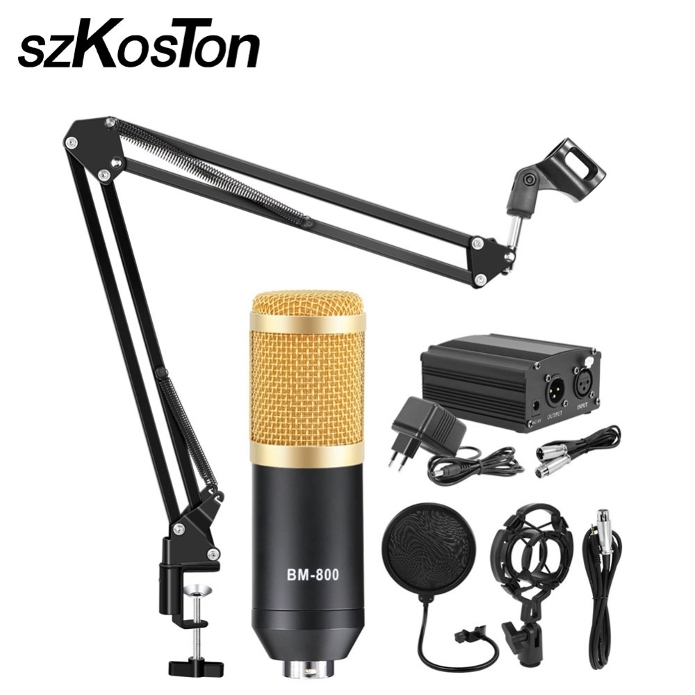 BM-800 micrófono de condensador profesional micrófono Kit ajustable con Mic Suspensión de tijera de estudio Rrecording Karaoke