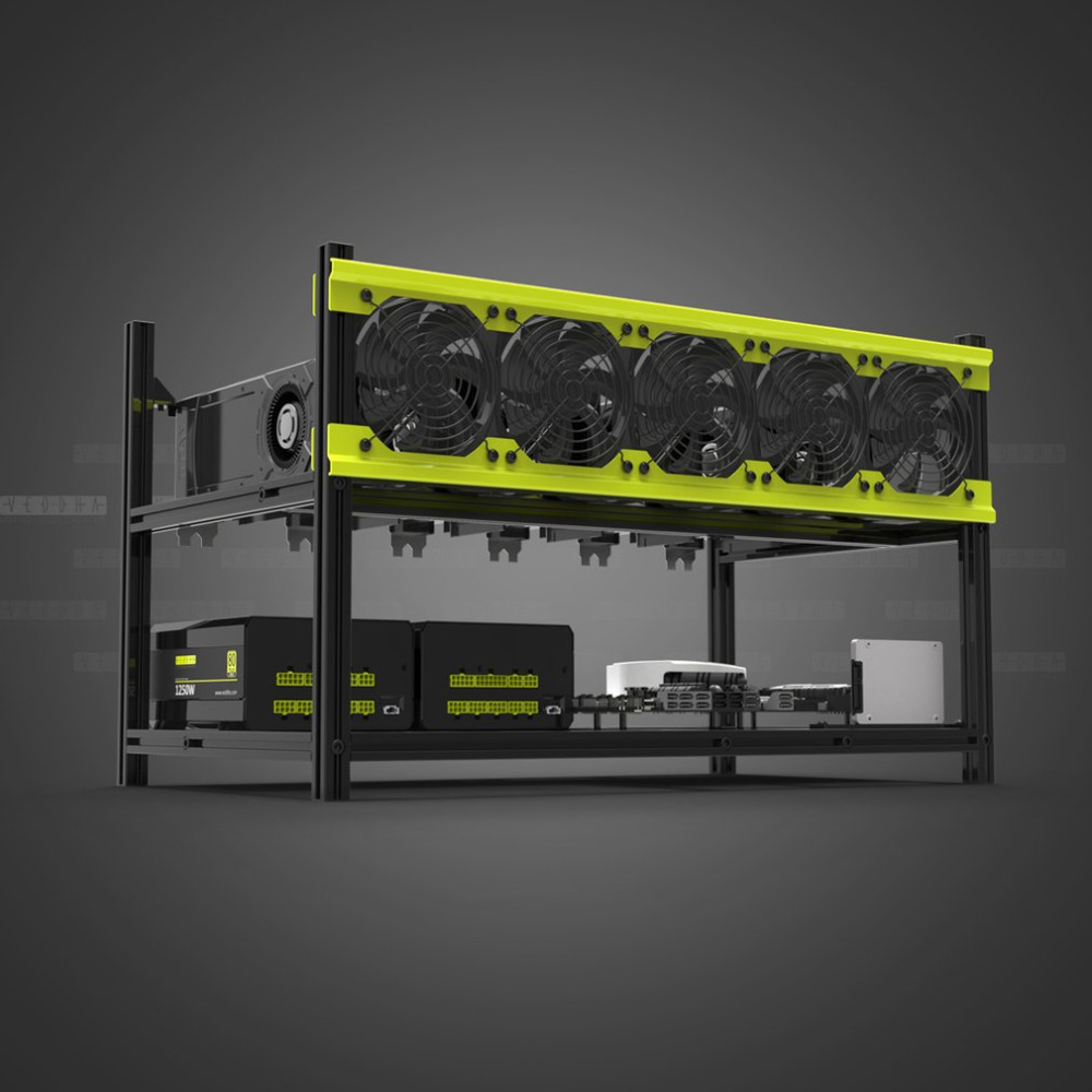 Veddha V3D6 GPU Mining Rig Aluminum Alloy Stackable Case Up To 6 GPU Open Air Frame Stable Rack Bracket
