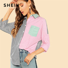aa91cb8a06 SHEIN Multicolor Casual Highstreet Color Block Pocket Button Front Shirt  Autumn Modern Lady Holiday Women Tops And Blouses