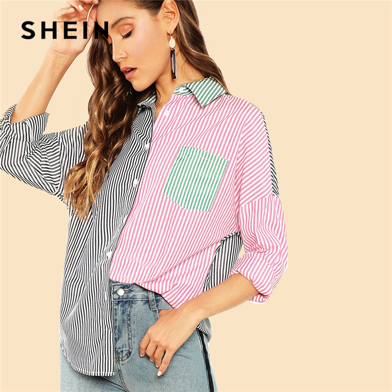 SHEIN Multicolor Casual Highstreet Color Block Pocket Button Front   Shirt   Autumn Modern Lady Holiday Women Tops And   Blouses