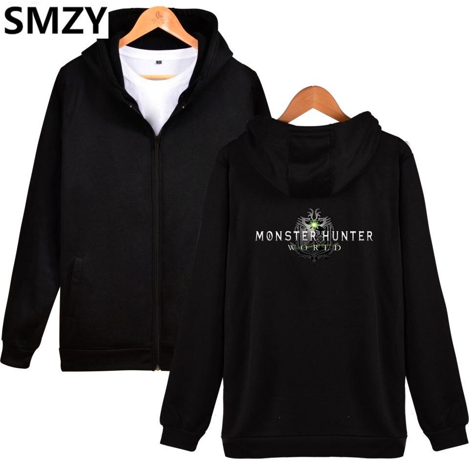 SMZY MHW Zipper Hoodies Mens Sweatshirts Monster Hunter World Pop Game Sweatshirts Men Japanese Famous ARPG Game Zipper Clother