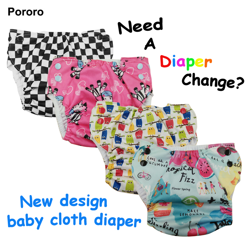 PORORO Adjustable Waist Newborn Baby Cloth Diaper, Printed Pocket Diaper For Newborn Babies
