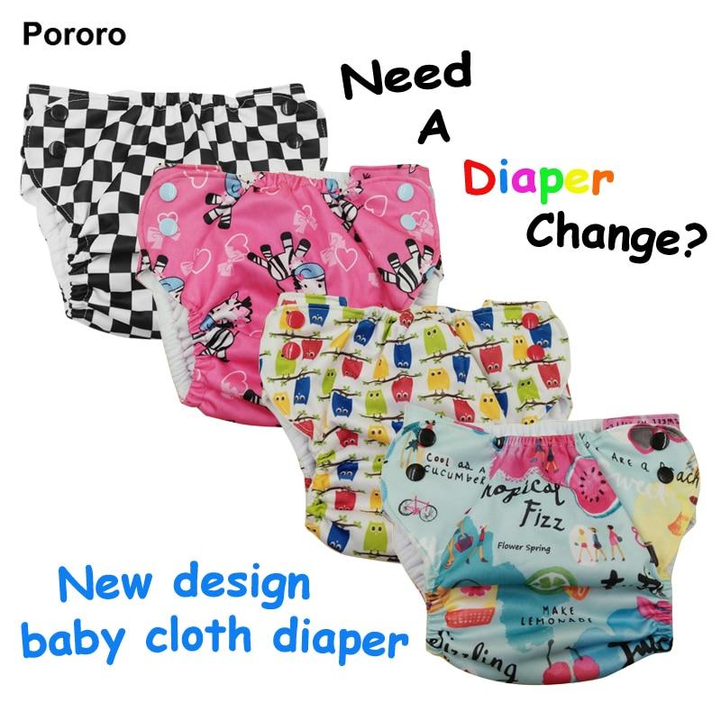 PORORO Adjustable Waist Newborn Baby Cloth Diaper, Printed Pocket Diaper For Newborn Babies