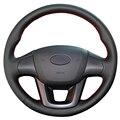 Black Artificial Leather Car Steering Wheel Cover for Kia K2 Kia Rio 2011 2012 2013