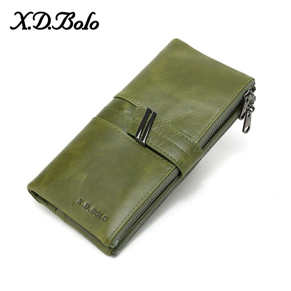 X. d. bolo bolsa feminina carteira de embreagem longa grande capacidade carteiras de couro genuíno bolsa feminina senhora bolsas titular do cartão saco do telefone