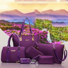 6 Pcs / Set Fashion Women Composite Bags PU Leather Diamond Lattice Print Women Handbag Shoulder Bag Wallets Purse Key Bag Set