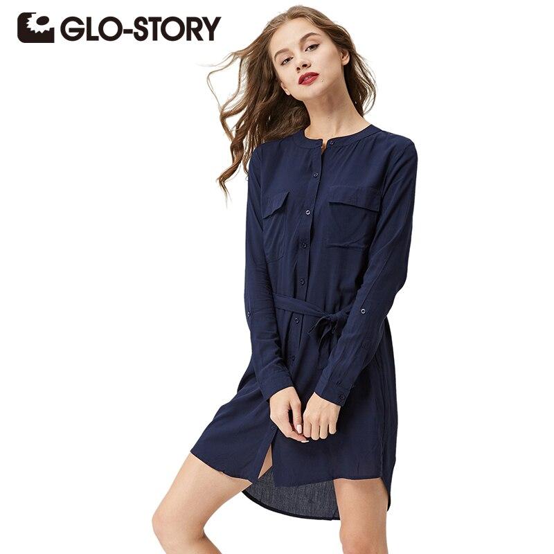 GLO-STORY Для женщин Кнопка рубашка платье 2018 осень одежда с длинным рукавом Туника зима платье 3006