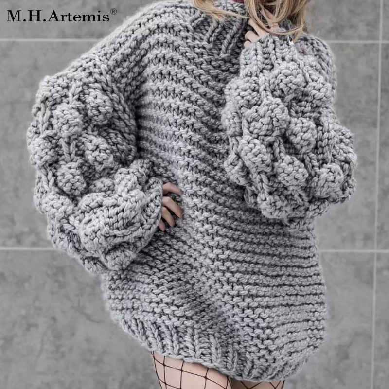 M.H.Artemis Hand made knitting thick pullover sweater woman warm top long sleeve Poom Poom 2017 Chic Loose knitting jumpers coat mart poom minu lugu page 4