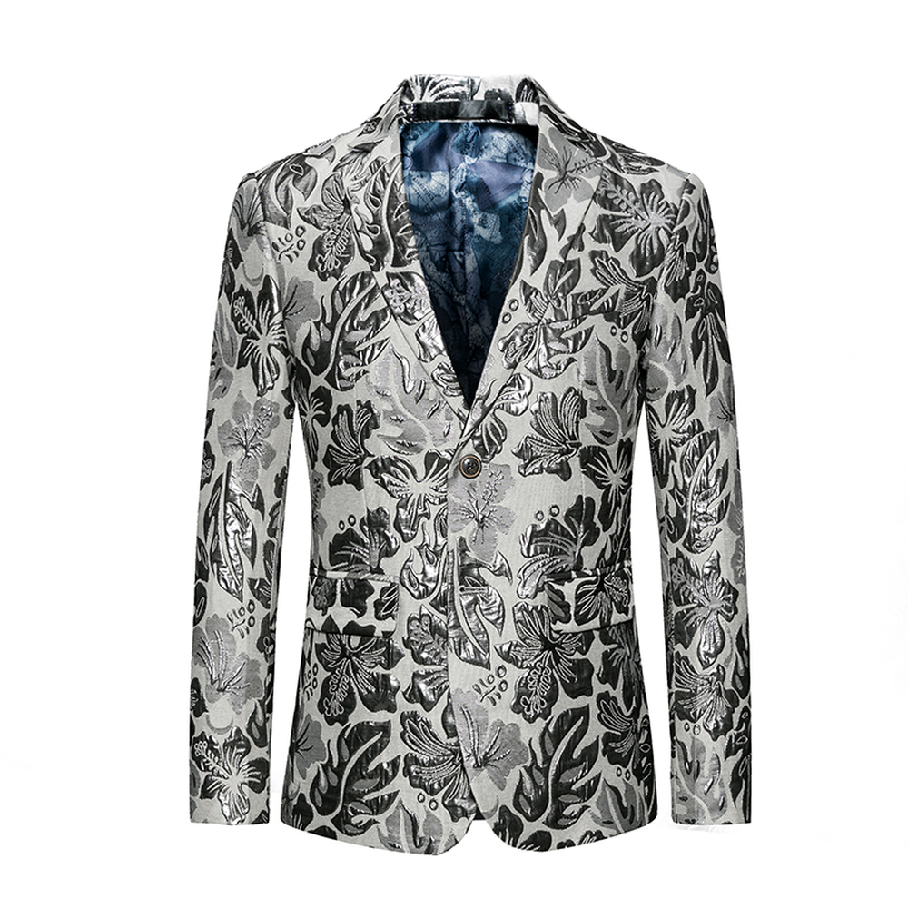 2018 Blätter Druck Männlichen Blazer Mode Einreiher Jacken Männer Hohe Qualität Casual Slim Fit Mäntel Plus Größe 5xl 6xl