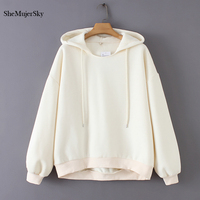 SheMujerSky White Sweatshirt Women Hoodies Loose Warm Oversized Hoodie Winter Coat Women sudaderas