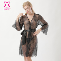 Black See Through Dot Mesh & Floral Lace Long Sleeve Knee Length Hot Erotic Lingerie Sexy Nightgown Sleepwear Nightwear Robes