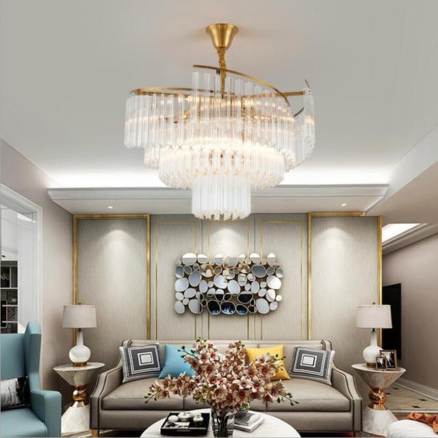 Candelabro de cristal lujo iluminación para sala estar dormitorio comedor  techo Lustre moderno nórdico Led candelabros